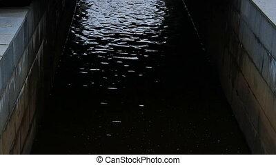 urbain, canal, noir, eau