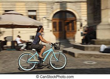 urbain, cavalcade, vélo
