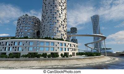 urbain, city., bâtiments., bureau, avenir, trafic