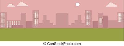 urbain, cityscape., silhouettes, de, bâtiments.