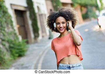 urbain, coiffure, femme, parc, jeune, noir, sourire, afro