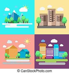 urbain, coloré, paysage, rural