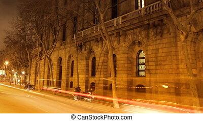 urbain, commandant, crépuscule, arrêt, scène, mouvement, barcelone, trafic, route, espagne