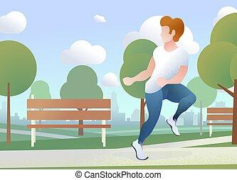 urbain, concept, course, ville, texte, parc, jeune, plat, horizon, fond, endroit, illustration, type