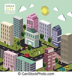 urbain, concept, ville