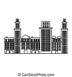 urbain, contour, appartements, résidentiel, scène, cityscape, icône
