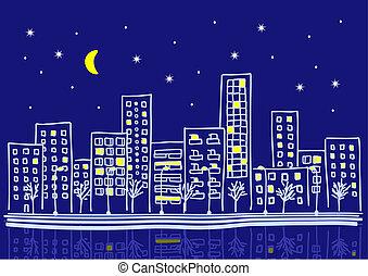 urbain, dessin animé, nuit