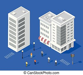 urbain, ensemble, maisons