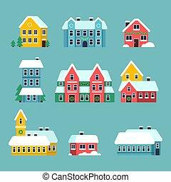 urbain, ensemble, noël, hiver, neigeux, maison, houses., toit, fetes, vecteur, dessin animé, ville, flocons neige