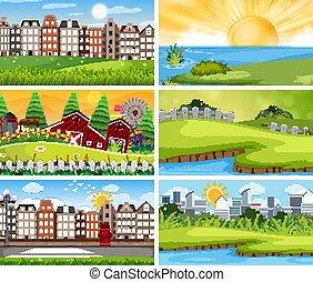 urbain, ensemble, paysage, rural