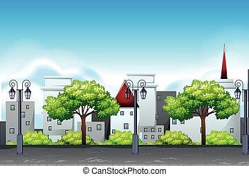 urbain, ensemble, scène, paysage