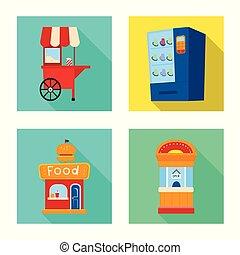 urbain, ensemble, stock., objet, isolé, vecteur, magasin, icon., amusement, icône