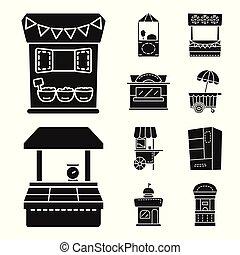 urbain, ensemble, stock., signe., illustration, vecteur, stand, tente, icône