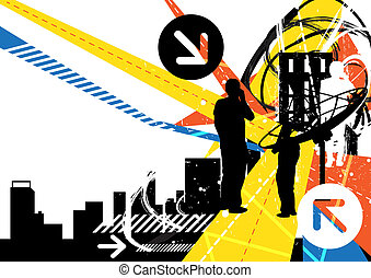 urbain, fond, communication