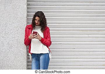 urbain, girl, mode, téléphone