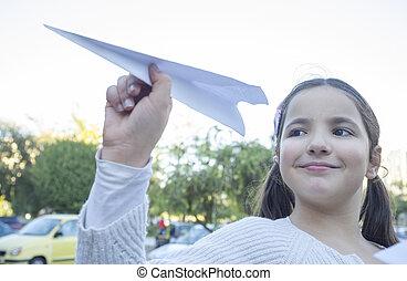 urbain, girl, papier, parc, avion, jeu, peu
