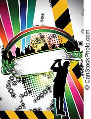 urbain, grunge, golf, affiche