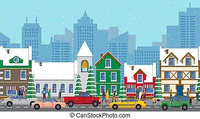 urbain, hiver, hiver, ligne, style, occupé, voitures, vecteur, vue, plat, route ville, vie