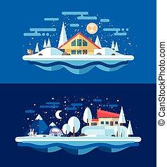 urbain, hiver, plat, illustration, conception, compositions, paysage