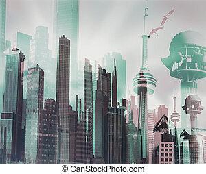 urbain, image abstraite paysage, virtuel