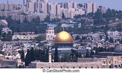 urbain, israël, dôme, rockin, jérusalem, paysage, vue