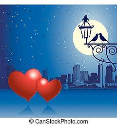 urbain, jour, scène, couple, valentin