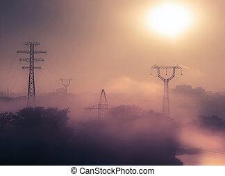 urbain, levers de soleil, brumeux