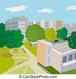 urbain, lilustration, scène, arbres, rue., bâtiments, ...