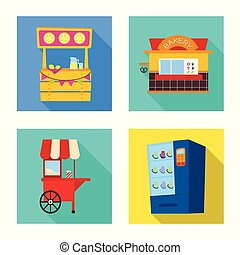urbain, magasin, stock., illustration, vecteur, collection, logo., amusement, icône