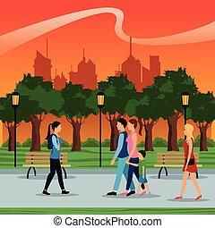 urbain, marche, gens, brench, parc, arbres, lampe, postlight, coucher soleil, ville