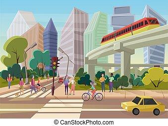 urbain, marche, rue, illustration., ville, moderne, gens, jeune, vecteur, dessin animé