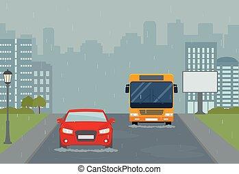 urbain, moderne, city., pluie, paysage.