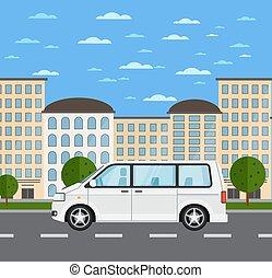 urbain, moderne, paysage, famille, minivan