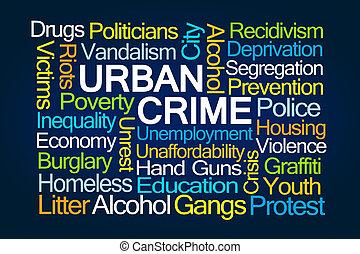 urbain, mot, nuage, crime