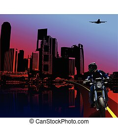 urbain, motard, fond, nuit