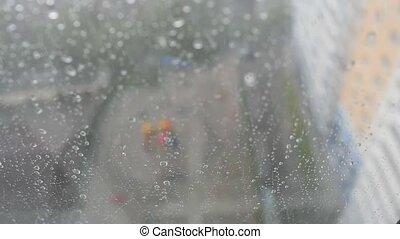 urbain, négligence, orageux, ville, fenêtre, pluie, chutes, horizon, fond, pendant, gouttes, jour, vue
