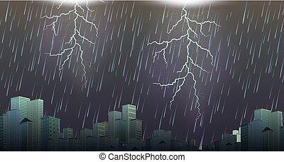 urbain, orage, orage, scène