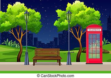 urbain, parc, nuit