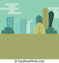 urbain, parc, scène, cityscape, bâtiments