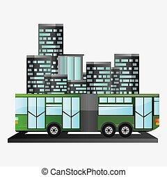 urbain, passager, autobus, fond, transport commun