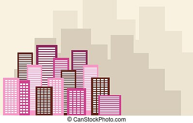 urbain, plat, arrière-plans, vecteur, ville, paysage