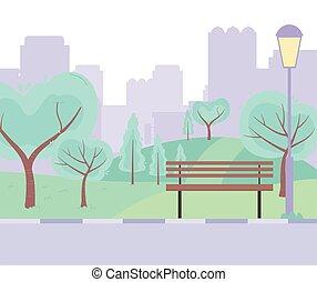 urbain, pré, arbres, banc, route, rue ville, parc, conception