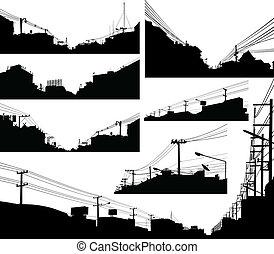 urbain, premier plan, silhouettes