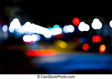 urbain, résumé, lumières, rue, trafic, nuit
