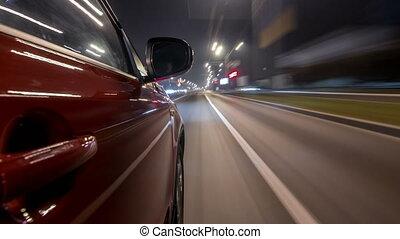 urbain, regard, conduite, ville, voiture, timelapse, jeûne, nuit, avenue, drivelapse, hyperlapse