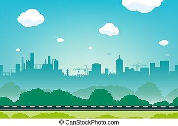 urbain, road., horizon ville, paysage, vide, bâtiments.