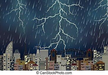 urbain, scène nuit, orage