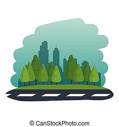 urbain, scène rue, route, icône