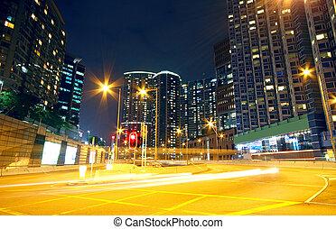 urbain, secteur, nuit