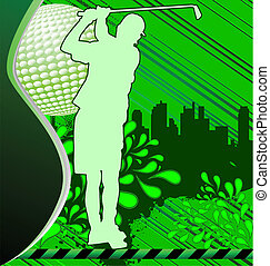 urbain, silhouette, affiche, joueur, grunge, golf